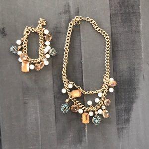 Jcrew matching charm necklace & bracelet